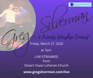 Dr. Greg & Friends Worship Concert live-streamed on Friday, March 27 at 7pm MST.